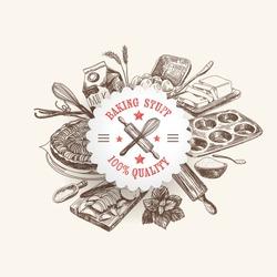 Vector bakery retro background. Vintage Illustration with milk, sugar, flour, vanilla, eggs, mixer, baking powder, rolling, whisk, spoon vanilla bean, butter and kitchen dish.