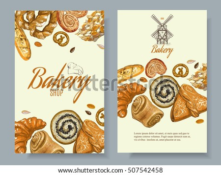 Vector bakery vertical banners. Design for grocery, bakery, dessert menu, pastry shop, recipe book, cooking manual . With place for text