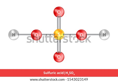 Vector ball-and-stick model of mineral acid. Icon of sulfuric acid H2SO4 structure consisting of  sulfur, oxygen and hydrogen. Structural formula suitable for education isolated on a white background.
