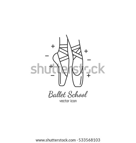 Vector ballet icon in trendy linear style. Pointe shoe isolated on white background