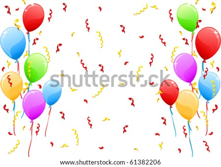 vector balloons and confetti