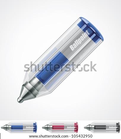 Vector ballpoint pen icon - stock vector