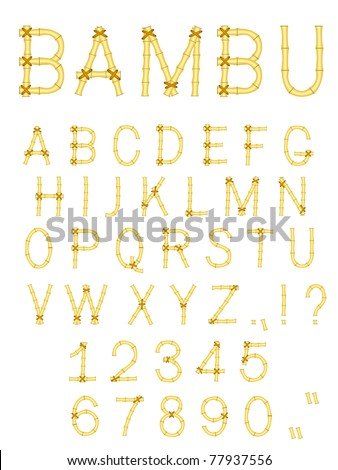 vector bamboo stick abc alphabet