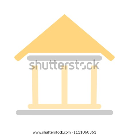 vector Bank building illustration, business finance icon - money savings
