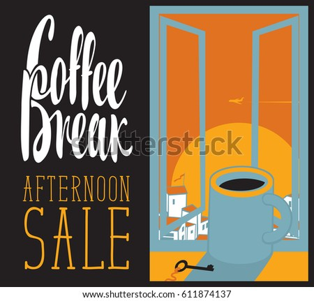 vector banner cup of coffee on