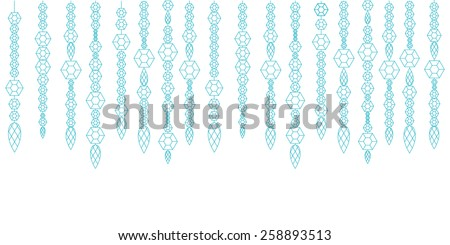 Vector banner decorative garland from gems, crystals and diamond, gems on a string