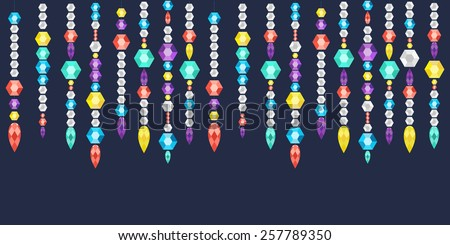 Vector banner decorative garland from gems, crystals and diamonds, gems on a string