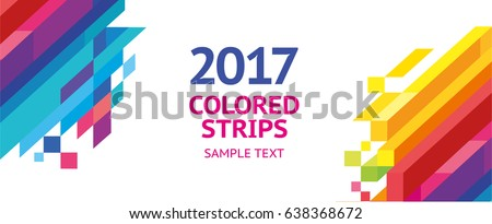 Vector Banner design colored stripes horizontal vertical. Bright dynamic