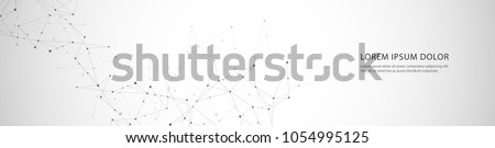 Vector banner design, connecting dots and lines. Global network connection. Geometric connected abstract background