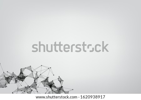 Vector banner design, Global network connection. Geometric connected. Background Technology connecting dots and line.
