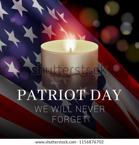 Vector banner design template with american flag, candle and text on dark background for Patriot Day. National Day of Prayer and Remembrance for the Victims of the Terrorist Attacks on 09.11.2001.