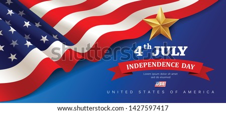 Vector Banner flag of united states happy independence day design background, illustration