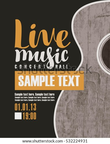 vector banner for the concert live music with a guitar