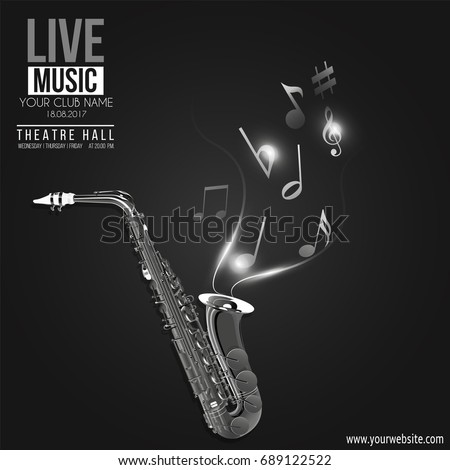 Vector banner for the concert of Jazz live music with a saxophone and notes