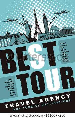 Vector banner for travel Agency with the words Best tour, any tourist destinations. Illustration with airplanes and architectural landmarks of various countries