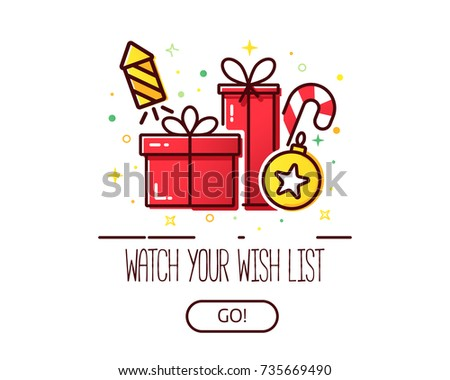 Vector banner for web with a pile of presents and gift boxes and Christmas icons, modern concept for wish list.