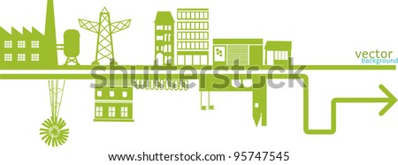 vector,  banner, header, composition about an abstract green city. including , building and icons