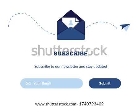 Vector banner illustration of email marketing. Subscription to newsletter, news, offers, promotions. A letter in an envelope. Buttons template. Subscribe, submit. Send by mail. Blue and White. Eps 10