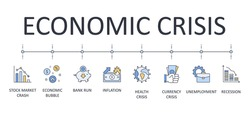 Vector banner infographics economic crisis. Editable stroke. Causes and consequences of financial crises. stock market crash health unemployment recession economic bubble bank run inflation currency c