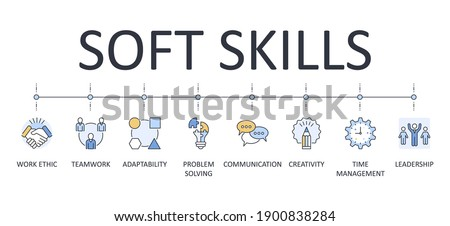 Vector banner infographics soft skills. Editable icon outline. Interpersonal attributes in the workplace symbols. Communication teamwork problem solving adaptability creativity leadership work ethic Photo stock ©