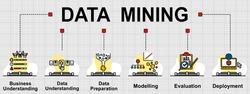Vector banner of data mining topics. It's Cross-Industry Standard Process (CRISP-DM) for data mining. Creative flat design for web banner ,business presentation, online article.