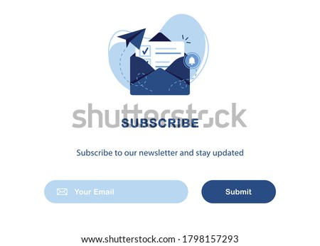 Vector banner of email marketing. Subscription to newsletter, news, offers, promotions. A letter in an envelope. Buttons template. Subscribe, submit. Send by mail. Follow me. Blue. Eps 10