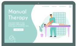 Vector banner of Manual Therapy concept. Professional massage therapist makes body treatment procedure to woman in spa salon. Medical rehabilitation of patient. Character illustration of landing page