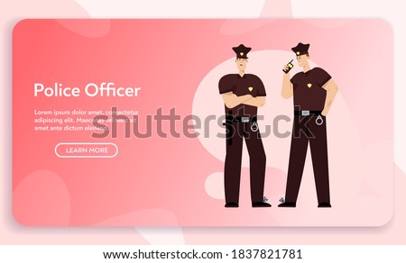 Vector banner of police officers team concept. Policemen wearing uniform, handcuffs, standing together. Patrol on street, guardians of order. Character illustration for city police department website Foto stock ©