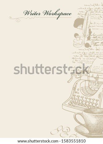 Vector banner on a writers theme with sketches and place for text. Artistic illustration with hand-drawn typewriter, inkwell, feather and unreadable handwritten notes in retro style. Writer workspace