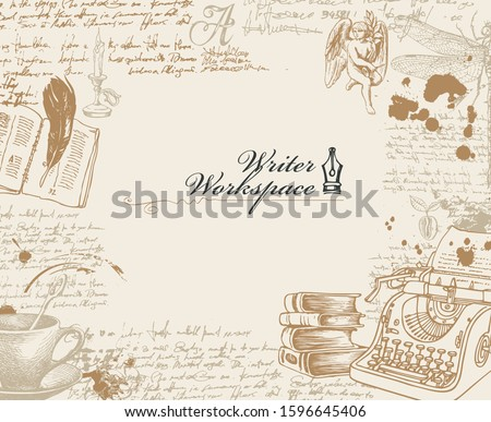 Vector banner on a writers theme with sketches and place for text in retro style. Writer workspace. Artistic illustration with hand-drawn typewriter, angel, dragonfly and handwritten notes with blots