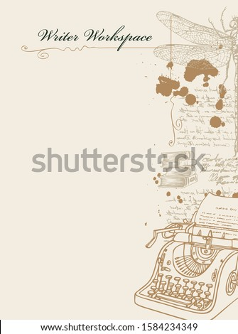 Vector banner on a writers theme with sketches and place for text. Writer workspace. Artistic illustration with pencil drawing of typewriter, dragonfly and handwritten notes with spots in retro style