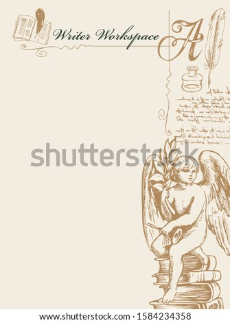 Vector banner on a writers theme with sketches and place for text. Writer workspace. Artistic illustration with hand-drawn angel, inkwell, feather and unreadable handwritten notes in retro style