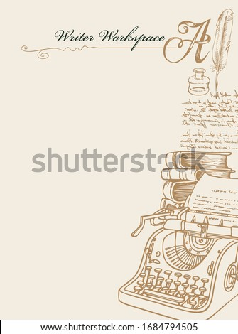 Vector banner on a writers theme with sketches and place for text. Writer workspace. Vintage illustration with hand-drawn typewriter, books, inkwell, feather and unreadable handwritten notes Foto d'archivio ©