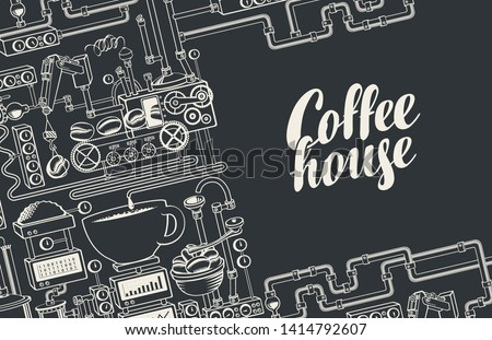 Vector banner on coffee theme with a cup of freshly brewed coffee, plant with conveyor coffee production and calligraphic inscription Coffee House in retro style. Drawing chalk on the blackboard