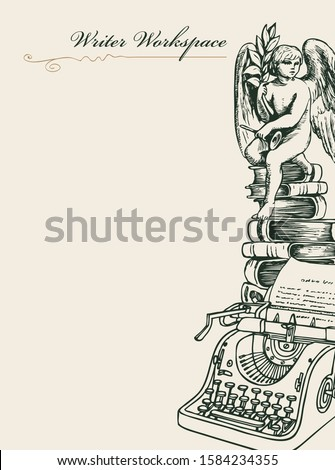 Vector banner or page on a writers theme with sketches and place for text. Writer workspace. Artistic illustration with pencil drawing of typewriter, books and angel in retro style