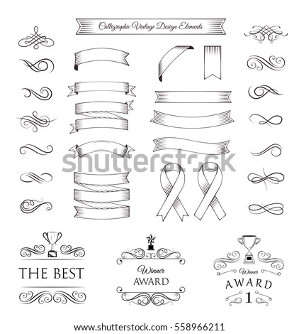 Vector banner Ribbons. Awards elements set. Vector illustration isolated on white background