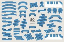 Vector banner Ribbons. Set of 50 ribbons