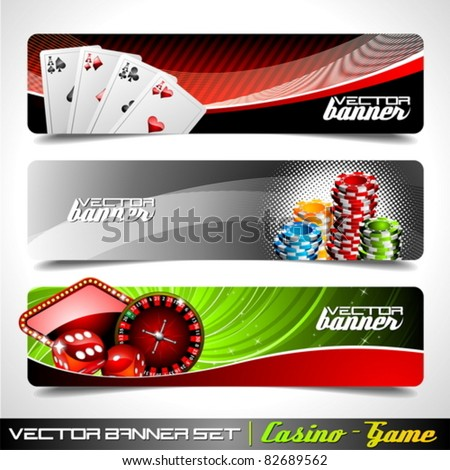 vector banner set on a casino