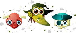 Vector banner showing a red female demon head with horns and blue eyes, a green witch head with a hat, pointy ears and a crooked nose, and a skull with a golden tooth, a pirate hat and an eye patch.