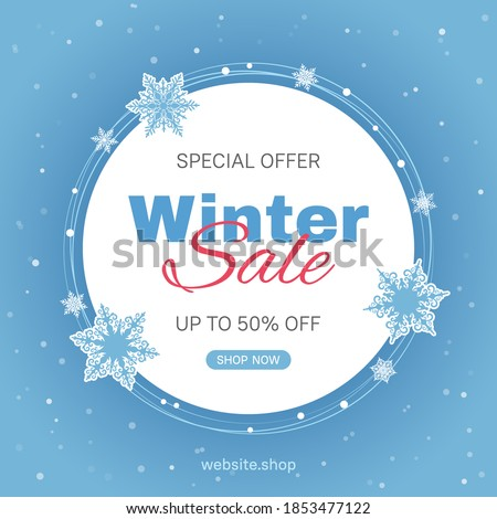 Vector banner template for seasonal winter sale with blue background and snowflakes. Usable for social media posts, web internet ads, flyers.