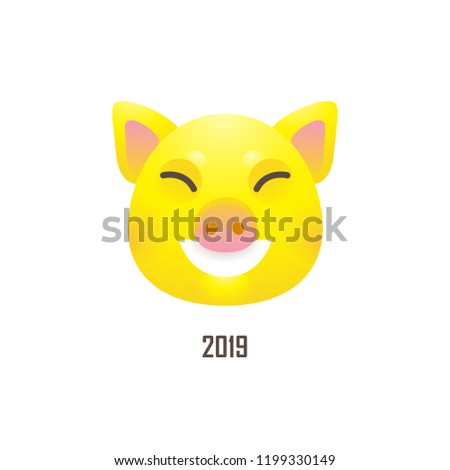 Vector banner with a illustration of head kawaii porky, symbol of 2019 on the Chinese calendar, isolated. Yellow Earthy Pig. Element for New Year's design. Used for advertising, greetings.