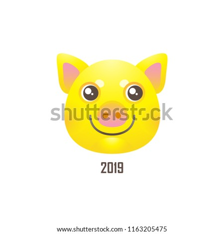 Vector banner with a illustration of kawaii porky, symbol of 2019 on the Chinese calendar, isolated. Yellow Earthy Pig. Element for New Year's design. Used for advertising, greetings, discounts