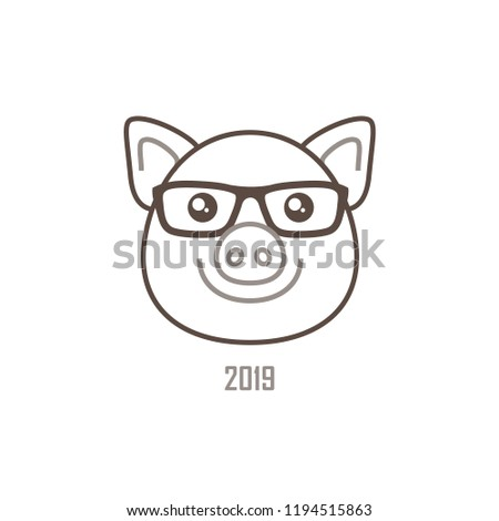 Vector banner with a outline illustration of head kawaii porky, symbol of 2019 on the Chinese calendar, isolated. Yellow Earthy Pig. Element for New Year's design. Used for advertising, greetings.