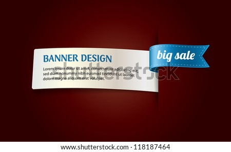 "Vector banner with blue silky ribbon tag ""Big Sale"""
