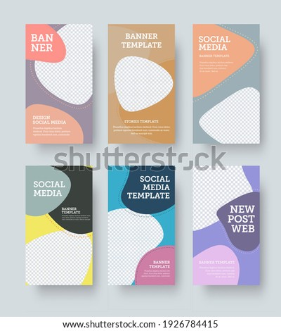 Vector banner with color geometric illustration, stories template with design presentation. Rectangular post template for online store promotion, business concept. Social media poster set with pattern