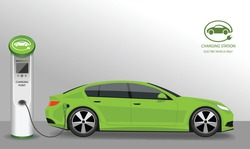 Vector banner with electric car and charging station