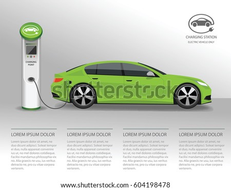 Vector banner with electric car and charging station.