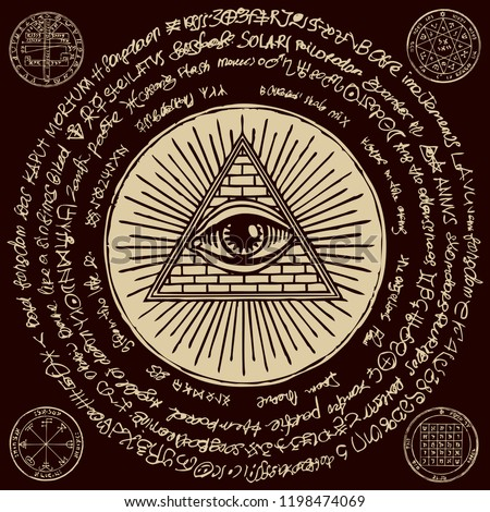 Vector banner with Eye of Providence. All-seeing eye inside triangle pyramid. Symbol Omniscience. Luminous Delta. Ancient mystical sacral illuminati symbol with magical inscriptions on black backdrop