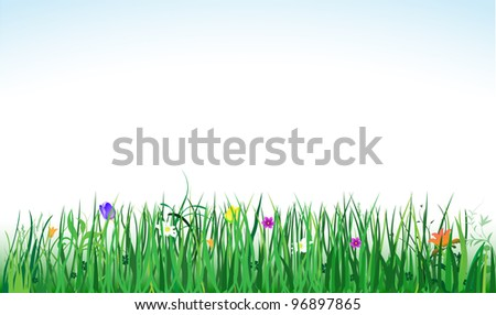vector banner with green grass and colorful flowers, raster version available