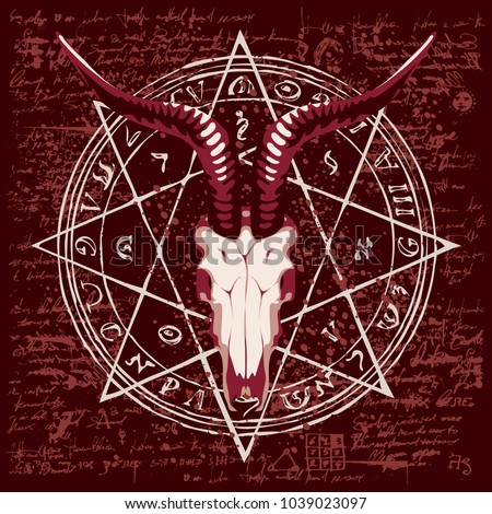 Vector banner with illustration of goat skull and pentagram with magical inscriptions and symbols on the background of old manuscript with spots in retro style